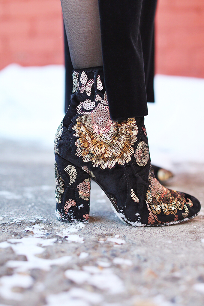 Winter 2018 Trend Guide | Velvet Underground | Key Winter to Spring Transitional 2018 Trends | Daytime Sequins: Aldo Fiery Boots | Calgary, Alberta, Canada Fashion Blogger // JustineCelina.com