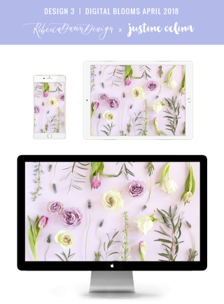Digital Blooms April 2018   Free Pantone Inspired Desktop Wallpapers for Spring   Free Lavender Floral Tech Wallpapers   Design 3 // JustineCelina.com x Rebecca Dawn Design