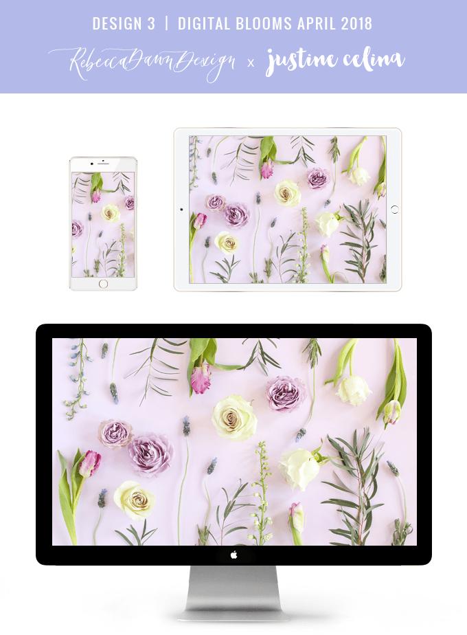 Digital Blooms March 2018   Free Pantone Inspired Desktop Wallpapers for Spring   Free Lavender Floral Tech Wallpapers   Design 3 // JustineCelina.com x Rebecca Dawn Design