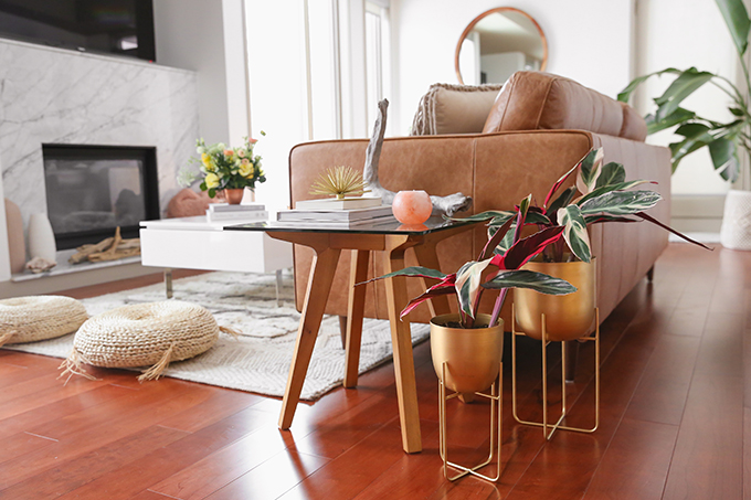 Our Living Room Furniture + $250 Structube #Giveaway | Structube SOL Metal Pots | A Bohemian, Mid Century Modern Apartment in Calgary, Alberta, Canada | Justine Celina Maguire Living Room // JustineCelina.com