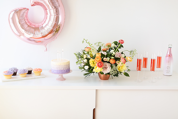 My 3rd Blogiversary + 10 Things I Learned in my Third Year of Blogging | Lavender Ombre Ruffle Cake + Sparkling Rosé Wine in Modern Champagne Flutes | A Pantone Spring 2018 Inspired Birthday Celebration // JustineCelina.com