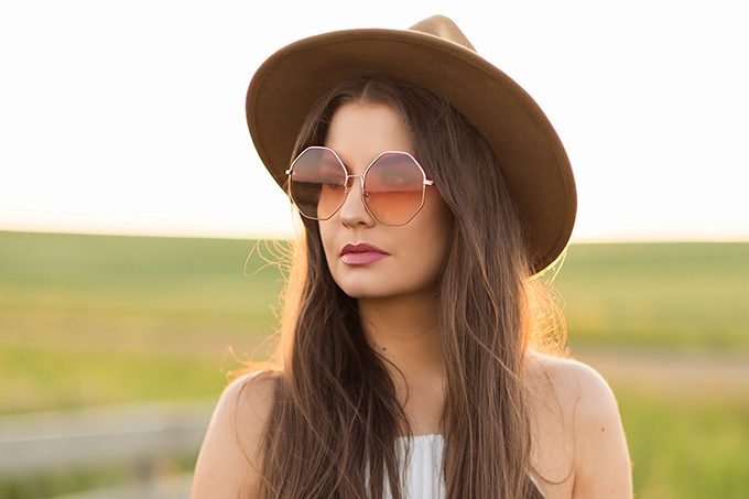 What to Wear to | The Calgary Stampede, Part II | In Partnership with Saks OFF 5TH | Rose Hexagon Sunglasses | Festival Style // JustineCelina.com