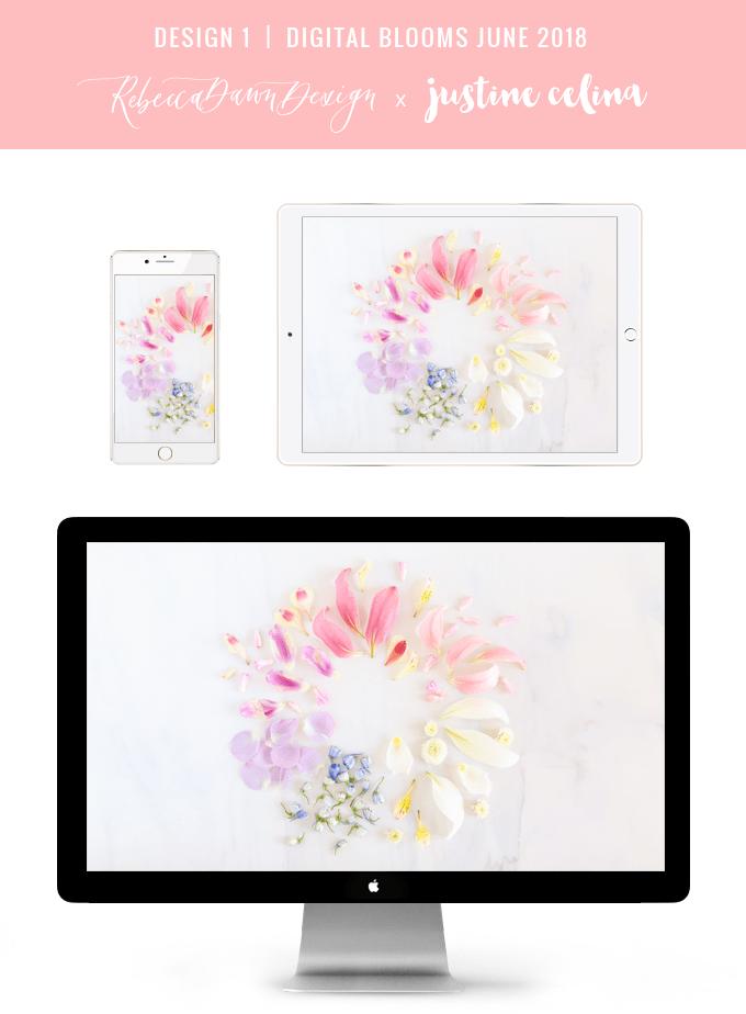 Digital Blooms June 2018   Free Pantone Inspired Desktop Wallpapers for Spring and Summer   Free Pastel Tech Wallpapers   Design 1 // JustineCelina.com x Rebecca Dawn Design