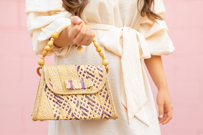 The Accessory Edit | Natural Material Bags | Vintage Straw Bag with Beaded Handle | How to Style Vintage Straw Bags | The Best Straw Bags 2018 // JustineCelina.com
