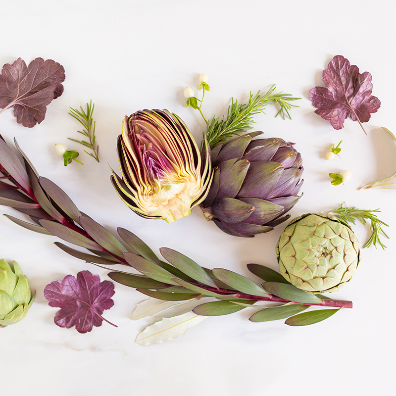 Digital Blooms July 2018 | Free Desktop Wallpapers for Spring and Summer with Artichokes, Rosemary, Berries and Quicksand Roses | Design 2 // JustineCelina.com x Rebecca Dawn Design