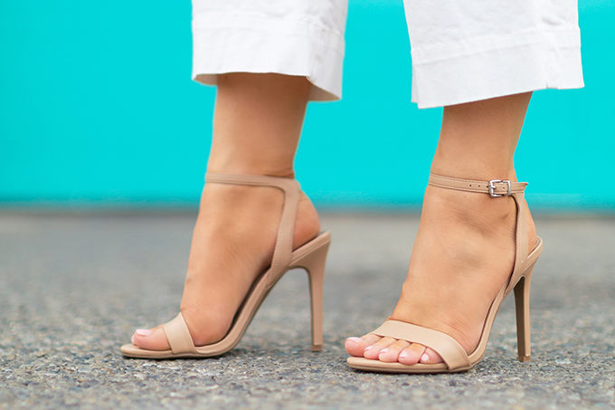 Transitional Shoe Guide | Summer to Autumn 2018 // The Best Shoes to Transition from Summer into Fall | Top Shoe Trends 2018 | Abound Nude 2 Strap Sandals // JustineCelina.com