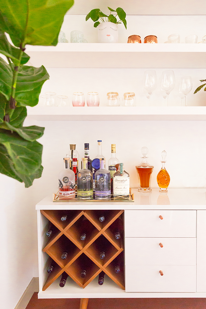 Our Dining Room Bar | A Built-In Look on a Budget | How I created our home bar for less than $1000 | Wayfair All Modern Lemington Wine Rack Sideboard Buffet Table Review | IKEA Lack Shelves to Create a Built in Bar | How to Create a Mockup in Your Design Planning Process | Final Bar Mockup // JustineCelina.com