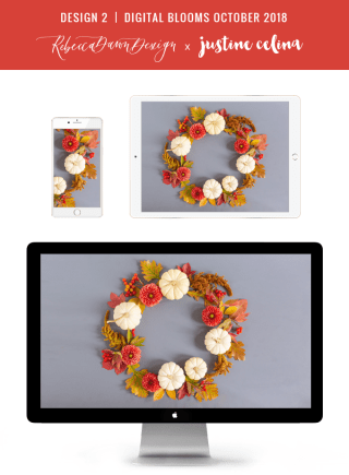 Digital Blooms October 2018 | Free Desktop Wallpapers for Fall with Dahlias, Amaranthus, Sedum, Chrysanthemum Poms, Ornamental White Pumpkins and an array of foraged autumn leaves and berries | Pantone Fall / Winter 2018 Free Tech Wallpapers | Design 2 // JustineCelina.com x Rebecca Dawn Design
