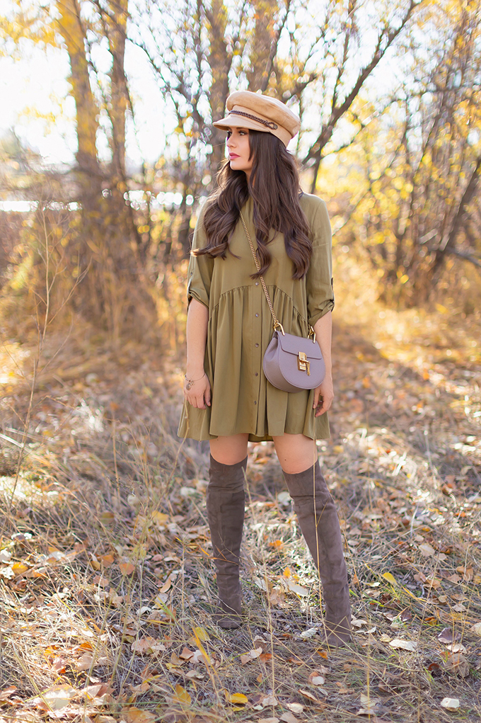 Autumn 2018 Lookbook | Olive Dress with Grey Over The Knee Boots and Baker Boy Hat | Autumn 2018 Trends | Grey Chloe Drew Dupe | JustineCelina.com