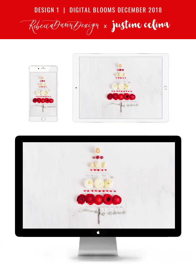 Digital Blooms December 2018 | Free Holiday Floral Desktop Wallpapers | A Whimsical Christmas Tree Made from Flowers, Berries and Twigs | Pantone Fall / Winter 2018 Free Tech Wallpapers | Design 1 // JustineCelina.com x Rebecca Dawn Design