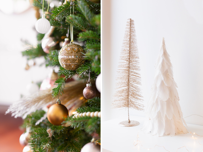Apartment Friendly Modern Holiday Decor | Real Christmas Tree with Wood Garland, Metallic and Wood Ornaments and Pampas Grass | Premium Nova Scotia Balsam Fir Tree | Bohemian, Mid Century Modern Holiday Decor | Bohemian Holiday Home Tour 2018 | Canadian Tire CANVAS Ornaments // JustineCelina.com