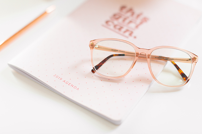 2018 Review + 2019 Goals | Calgary Lifestyle Blogger | 2019 Planning and Goal Setting | Entrepreneur Working from Home | Goal Setting for 2019 | Bonlook Lauren Blue Light Blocking Glasses In Peach // JustineCelina.com