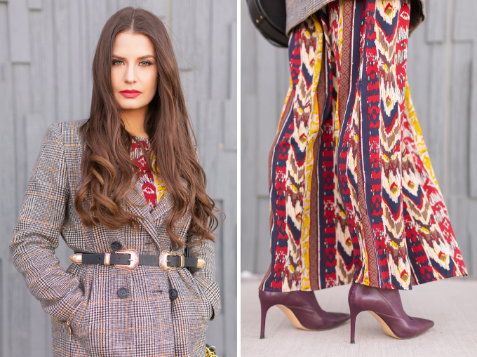Winter 2019 Lookbook | Belted Blazer: How to Style Maxi Dresses for Winter | Brunette Girl wearing an ikat maxi dress, Checked Boyfriend Blazer, Black Chloe Tess Dupe the Artisan Anything Lara Leather Crossbody In Black, burgundy leather sock boots and a double buckle western belt | Bohemian Winter Style Ideas | Pantone Spring Summer 2019 Fashion Ideas | Creative Professional Outfit Ideas | Calgary, Alberta, Canada Fashion & Lifestyle Blogger // JustineCelina.com