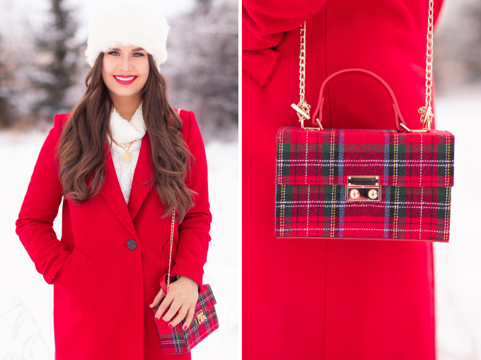 Festive, Casual Holiday Outfit with a Red Coat | Christmas Day Outfit Ideas | Brunette Girl Smiling in a Red Coat and a Faux Fur Headband with Joe Fresh Faux Leather Leggings, Black Suede OTK Boots and a Tartan Box Bag | Lancome Matte Shaker in Red-y in 5 // JustineCelina.com