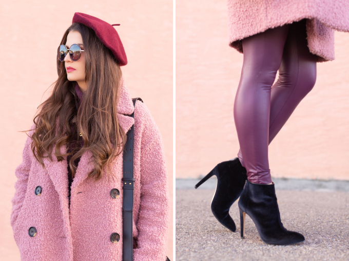 Winter 2019 Lookbook   Raspberry Beret: My Favourite Warm, Comfortable Outfit Formula   Topshop Blush Teddt Coat Styled with a Wool Raspberry Beret, H&M burgundy sweater, Burgundy Joe Fresh Leather Leggings, Velvet Ankle Booties and the Artisan Anything Lara Leather Crossbody In Black (Amazing Chloe Tess Dupe!)    Stylish Winter 2019 Outfit Ideas   Valentine's Day Outfit Ideas for Cool Climates // Calgary, Alberta, Canada Fashion & Lifestyle Blogger // JustineCelina.com