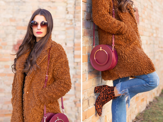 Winter 2019 Lookbook | Teddy Texture: How to Style a Teddy Coat for Mild Winter Weather | Paisie Teddy Coat styled with Kick Flare, Fringe Hem Jeans, Leopard Print TopShop Brooklyn Block Heel Booties and A Burgundy Circular Bag  | Stylish Winter 2019 Outfit Ideas | Cool Girl Winter Outfit Ideas // Calgary, Alberta, Canada Fashion & Lifestyle Blogger // JustineCelina.com