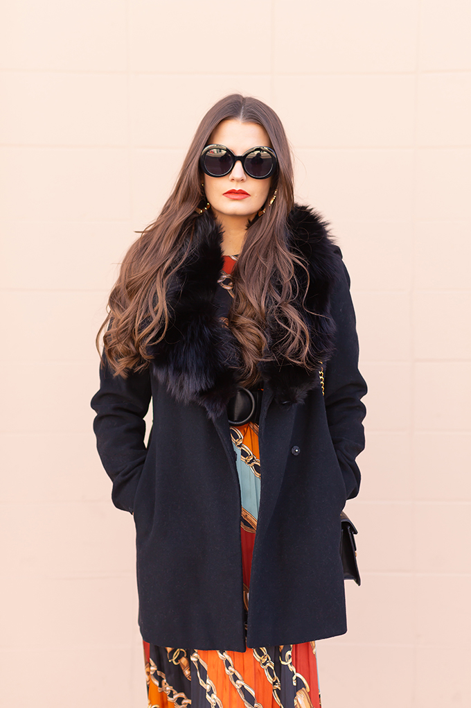 Pattern Play: Chain Print | How to Style Midi Dresses for Winter | How to Style Chain Print | How to Wear Chain Print | The Best Chain Print Dresses | Brunette Girl wearing a chain print midi dress, a black wool coat with vintage fox fur collar, satin boots, black oval sunglasses and a black Gucci Dionysus Small Shoulder Bag | Bohemian Winter Style Ideas | Pantone Spring Summer 2019 Fashion Ideas | Winter Evening Outfit Ideas | Calgary, Alberta, Canada Fashion Blogger // JustineCelina.com