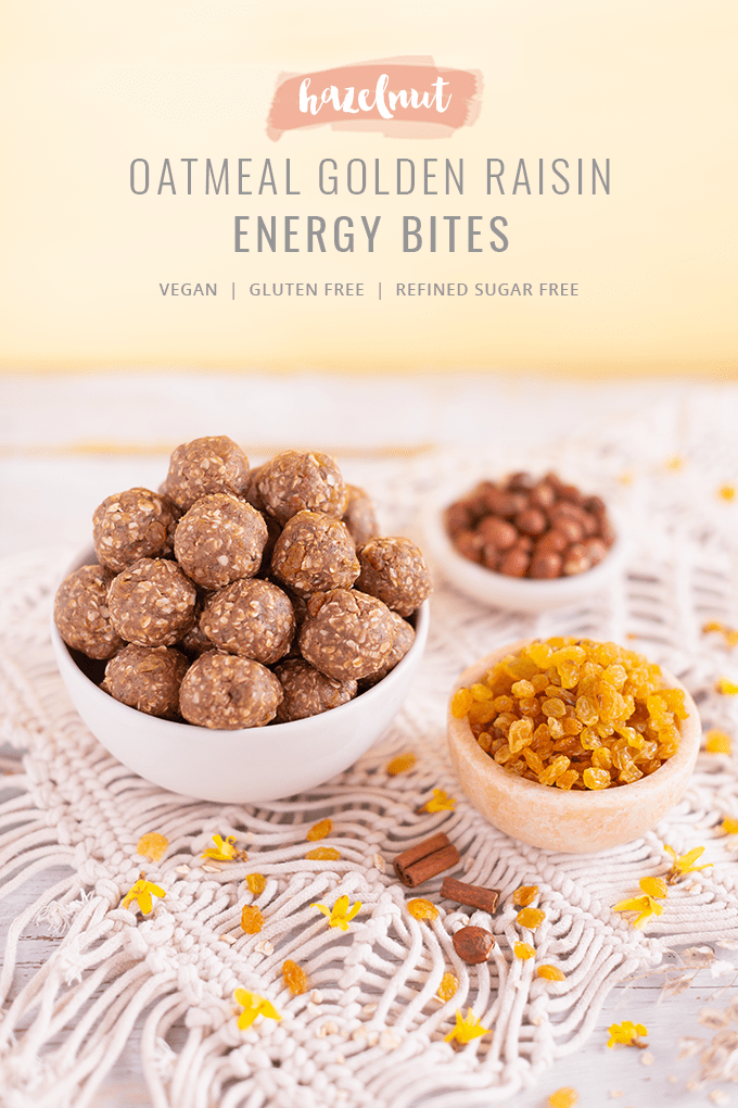 Hazelnut Oatmeal Golden Raisin Energy Bites | The Best No Bake, Vegan, Gluten Free, Refined Sugar Free Energy Bites | High Protein Energy Bites | Post Workout Recovery Energy Bites | Breakfast Energy Bites | Protein Powder Energy Bites | Healthy Energy Balls | Oatmeal Balls without Peanut Butter | Easy 9 Ingredient Energy Bites // JustineCelina.com