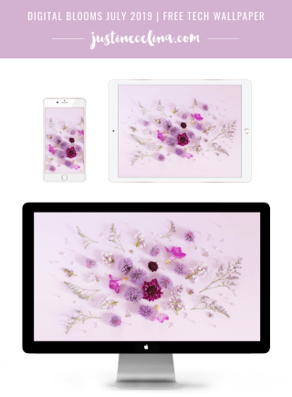DIGITAL BLOOMS JULY 2019 | FREE DESKTOP WALLPAPER | Free Summer 2019 Floral Desktop Wallpapers featuring Lilacs, Chive Fllowers, Freesia, Scabiosa and Misty Blue Statice on a lavender background | Free Lavender Lilac Floral Wallpapers for Summer | Spring / Summer 2019 Tech Wallpapers | FREE Purple Floral Tech Wallpapers | The Best FREE Summer Tech Wallpapers | Free Floral Tech Wallpapers Summer 2019 // JustineCelina.com