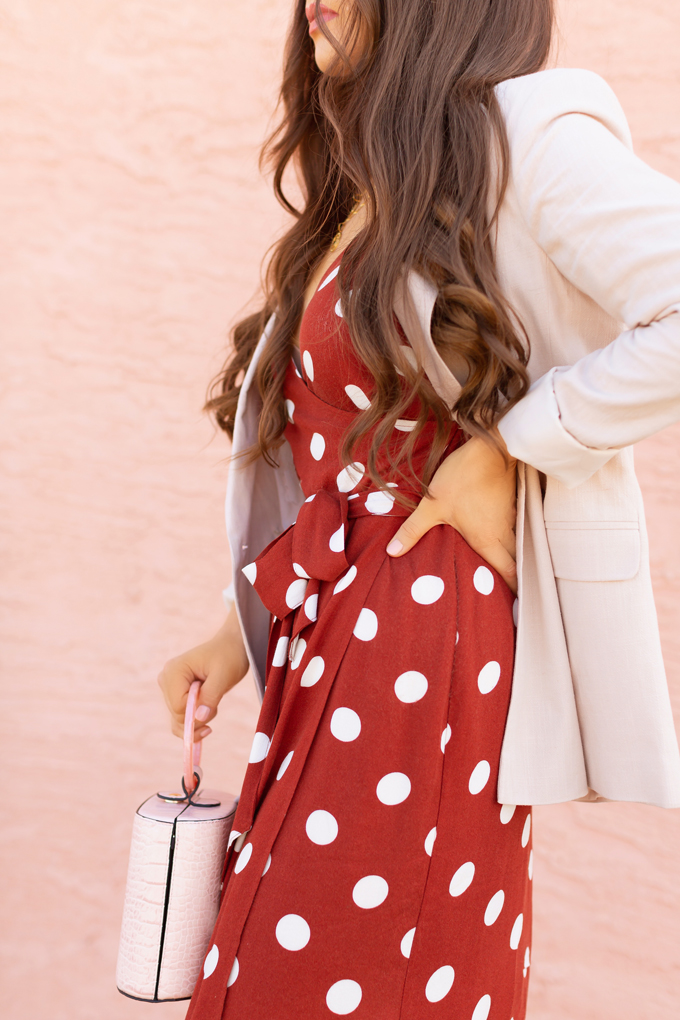030A3786Pattern Play: Polka Dots | How to Style Polka Dots for the Office | How to Style Polka Dots into Fall | The Best Dresses for Work | Summer/Fall 2019 Professional Outfit Ideas | Brunette woman wearing a brown polka dot wrap dress, TopShop Oatmeal linen blazer, pink croc-embossed bracelet bag, and white, square toed scrappy sandals | Top Summer to Fall 2019 Transitional Trends | Calgary Fashion Blogger // JustineCelina.com