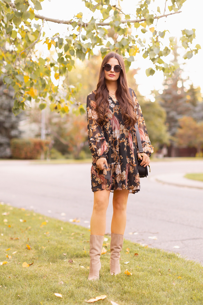 Summer to Fall 2019 Transitional Lookbook : Moody Florals | Top Summer to Fall 2019 Transitional Trends | Top Autumn 2019 Trends and How to Wear Them | The Best Moody Floral Dresses for Fall | | Brunette woman wearing an H&M Wide Cut Chiffon Floral Dress, Zara Taupe Mid-Calf Suede Boots, A Black Chloe Tess Dupe by Artisan Anything, Round Black Sunglasses and a Dark Red Lip | Top Calgary Fashion & Creative Lifestyle Blogger // JustineCelina.com