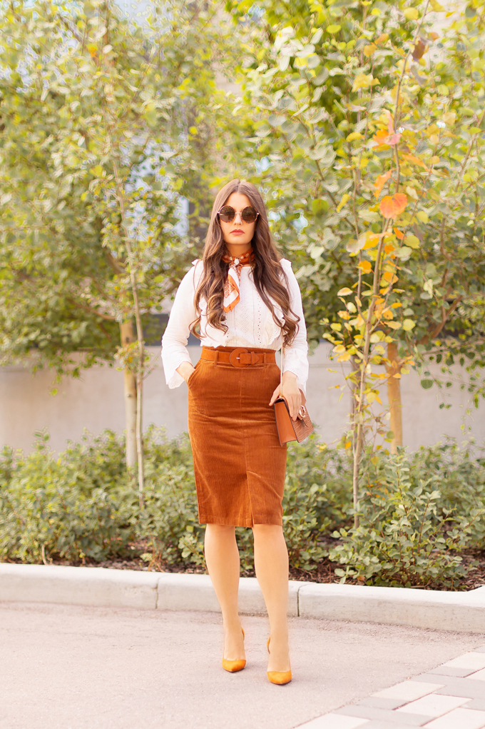 Summer to Fall 2019 Transitional Lookbook: Transitional Textures | Top Summer to Fall 2019 Transitional Trends | Top Autumn 2019 Trends and How to Wear Them | Fall 2019 Professional Outfit Ideas | Brunette woman wearing a Congac Corduroy Skirt, White Embroidered Top, Vintage Silk Neck Scarf, a TopShop Croc Embossed Bag and Orange D'Orsay Pumps | Top Calgary Fashion & Creative Lifestyle Blogger // JustineCelina.com