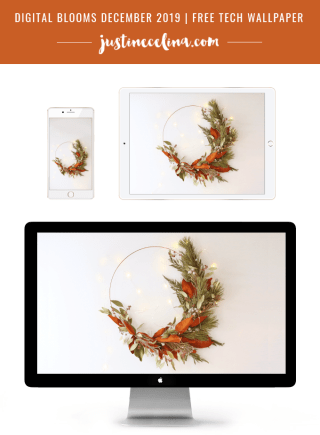 DIGITAL BLOOMS DECEMBER 2019 | FREE DESKTOP WALLPAPER | DIY | Asymmetrical Holiday Wreath | How to Make an Asymmetrical Holiday Wreaths for Christmas with Pine, Cedar, Brunia, Eucalyptus pods, Red Ironbark Eucalyptus and Magnolia | Christmas Wreath DIY | Modern Christmas Wreath DIY | Neutral, Mid Century Modern Christmas Wreath | Free Christmas Digital Wallpaper | Free Holiday Wallpaper | Wreath Wallpaper | Winter Wreath Download | JustineCelina Digital Blooms // JustineCelina.com
