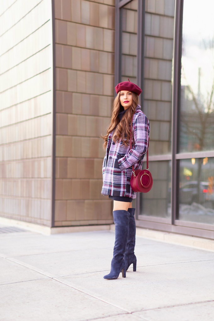 Autumn / Winter 2019 Lookbook: Classic | Top Fall / Winter 2019 / 2020 Trends | Top Winter 2019 / 2020 Trends and How to Wear Them | Brunette woman wearing a Classic Blue Merino Wool Sweater Dress, Joe Fresh Wool Plaid Coat, OTK Blue Suede Boots, Raspberry Beret and Burgundy Crossbody Bag in and urban Setting | How to Wear Pantone's 202 Color of the Year, Classic Blue | Pantone Color of The Year 2020 Fashion | Top Calgary Fashion Blogger // JustineCelina.com