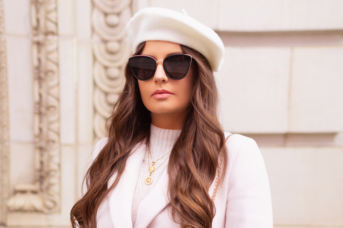 Autumn / Winter 2019 Lookbook: Parisian Plaid | Top Fall / Winter 2019 / 2020 Trends | Top Winter 2019 / 2020 Trends and How to Wear Them | Brunette woman wearing an Evernew Tori Double Breasted Crombie Coat in Blonde, Blac Cat Eye Sunglasses, Cream Beret and Vintage Suede Crossbody Bag Downtown | How to Style Millennial Pink in 2020 | Chic Winter Fashion Ideas | Clove + Hallow Lip Creme in Ballerina Slippers | Top Calgary Fashion Blogger // JustineCelina.com