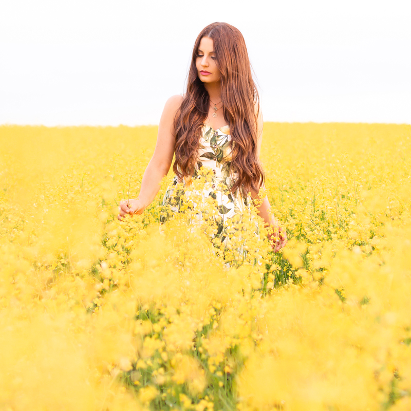 July 2020 Soundtrack | Chill Summer Playlist | Inspiring Summer Playlist Spotify | Dreamy Summer 2020 Playlist | Brunette woman in a field of canola at sunset wearing a lemon print sundress | Yellow Flower Field | Wheatland County, Alberta, Canada Canola Field | Summer 2020 Bohemian Style Ideas | Boho Casual Summer Dresses | Summer 2020 Fashion | Best H&M Dresses Summer 2020 | Alberta Canola Fields 2020 | Calgary, Alberta, Canada Creative Lifestyle Blogger and Entrepreneur// JustineCelina.com