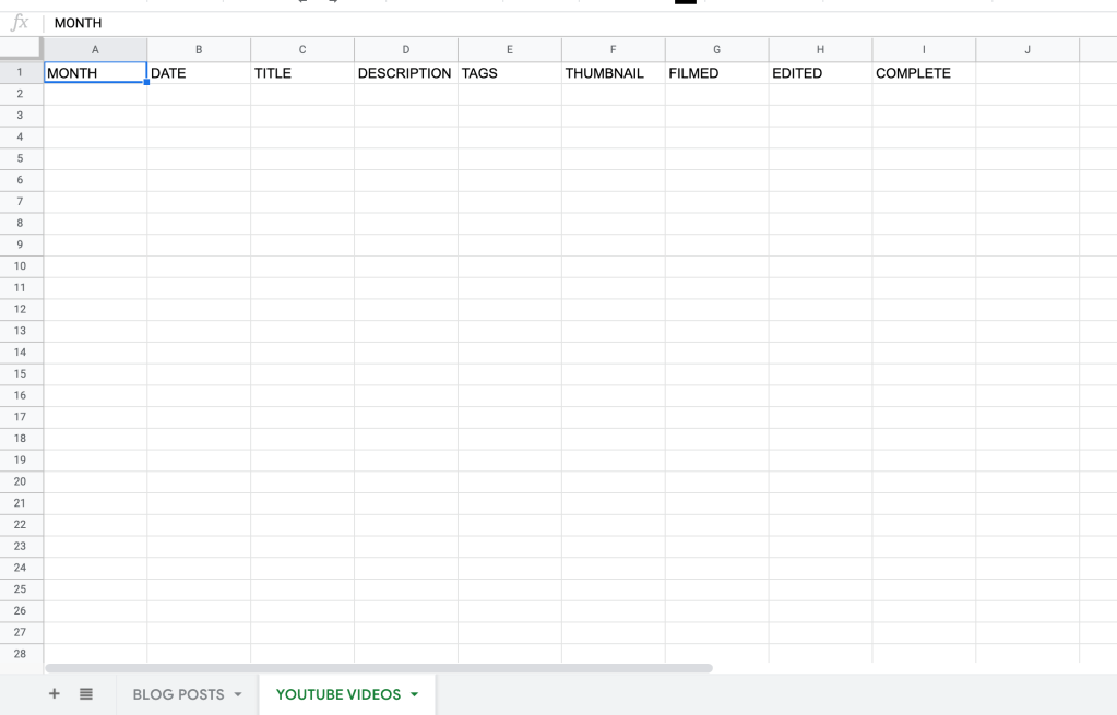 HOW TO MAKE A CONTENT CALENDAR FOR 2021 IN GOOGLE SHEET