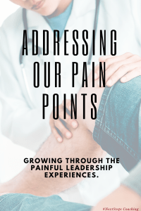 Doctor examining patients knee with superimposed text: Addressing Our Pain Points