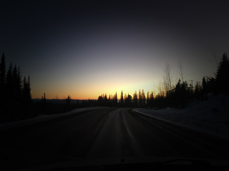 Sunset on Silver Star mountain in British Columbia