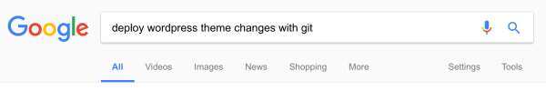 Google search deploy wordpress theme changes with git