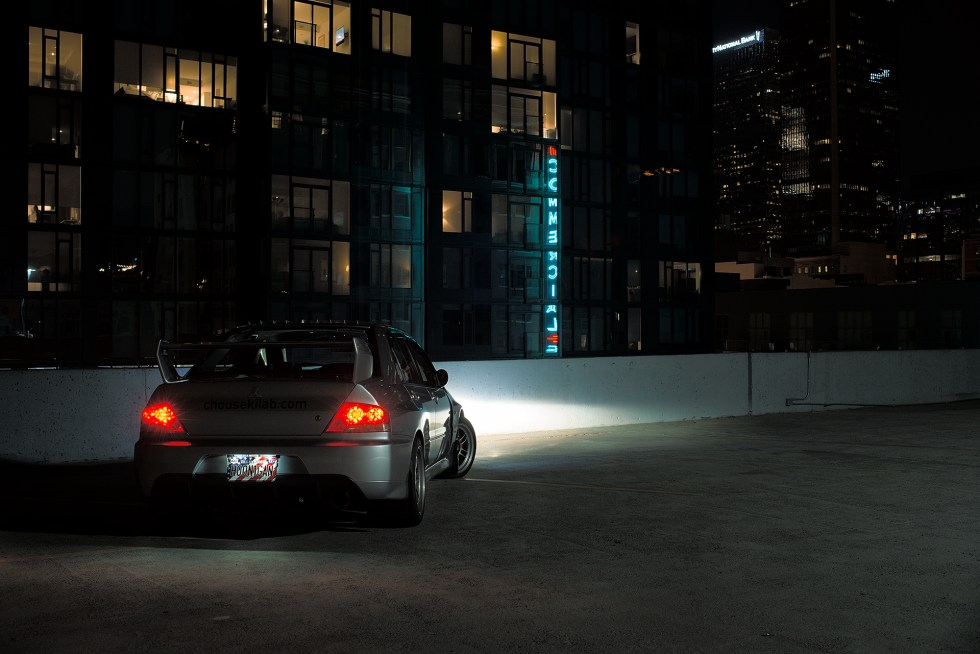 Rear angled shot of my Mitsubishi Evo 7