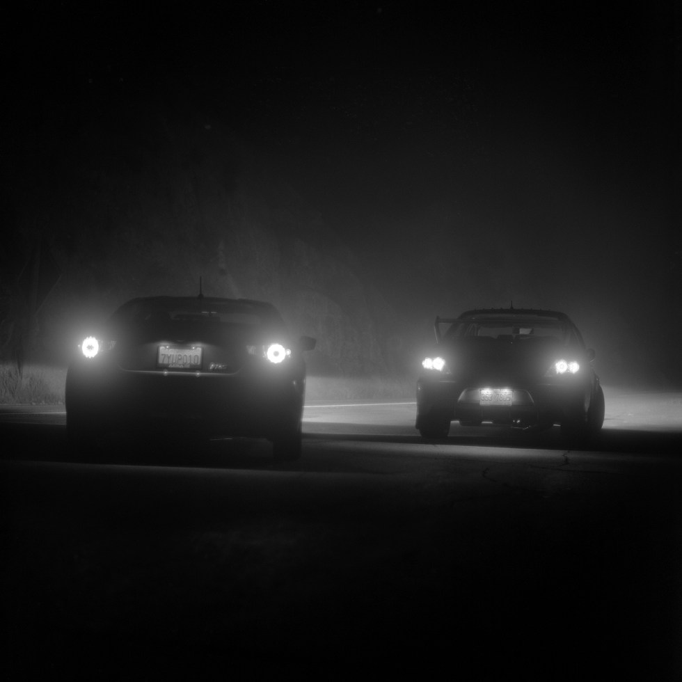 Secret Nightcore meet stopped in a foggy spot on Angeles Crest Highway