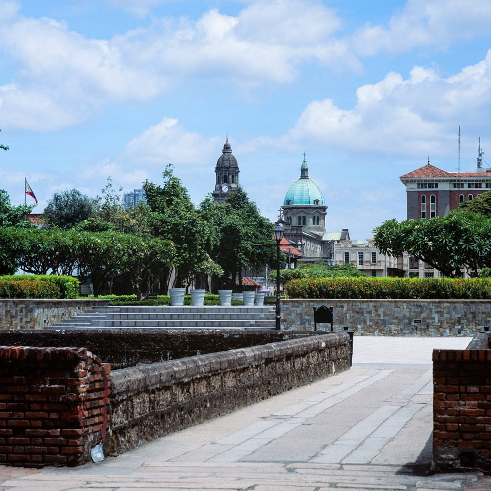 Looking toward the old church at Fort Santiago