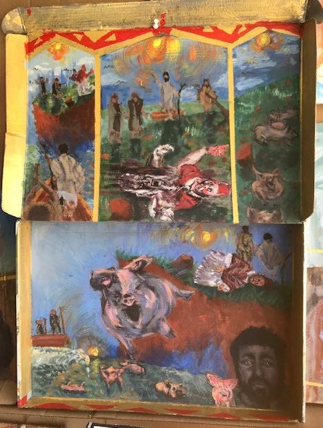 """""""Projeto Para Quadríptico em Catedral Romana: Cristo e os Porcos"""", Justino, acrílico em papelão, 45 x70, 2019."""
