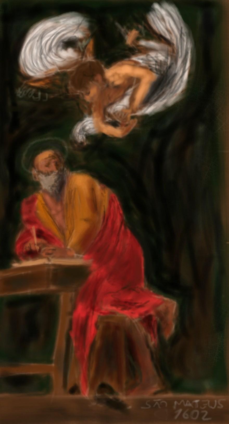 """""""Série: Faça como os Grandes Mestres – São Mateus , Caravaggio"""", Justino, iPad, 2019."""