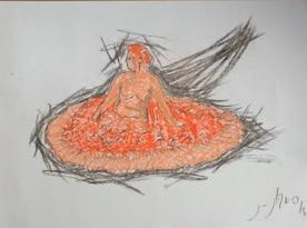 """""""Dama sentada à moda de Gauguin"""", Justino, desenho a carvão e lápis, 2016."""