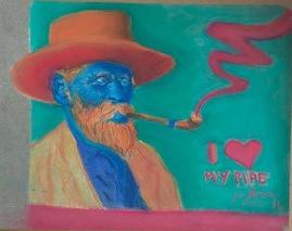 """""""Um sósia de VvG fumando cachimbo"""", Justino, pastel em papel, 2016."""
