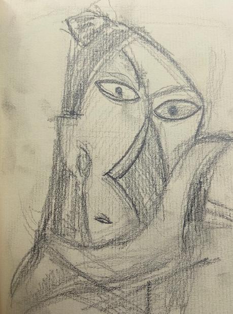 Selfies -5, Justino, desenho a lápis, 2019.