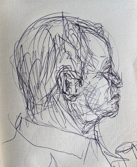No metrô - 8, Justino, desenho a caneta, 2020.