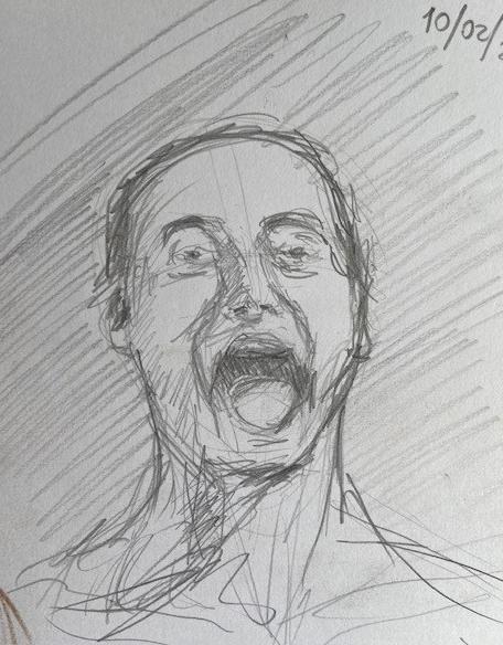 Série Cinco minutos - 5, Justino, desenho a lápis 3B, 2020.