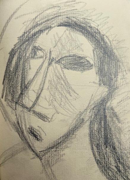 Selfies -4, Justino, desenho a lápis, 2019.