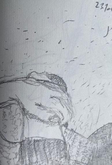 No metrô - 11, Justino, desenho a caneta, 2019.