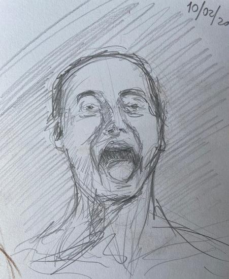 Qualquer um pode gritar - 2,Justino, lápis preto, 2020.