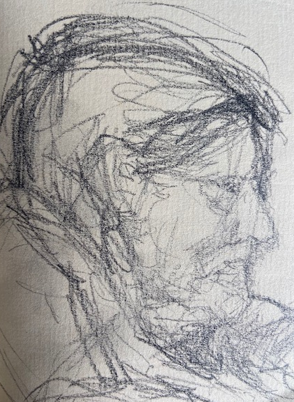 No metrô - 10, Justino, desenho a caneta, 2020.