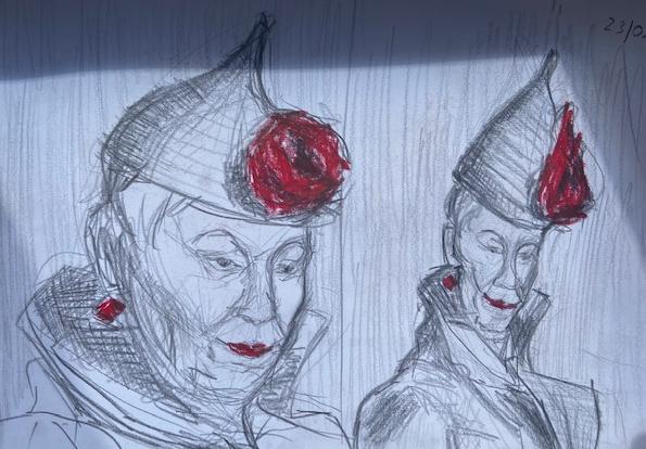 Dama de Ouros: Variações, Justino, grafite e china marker, 2020.