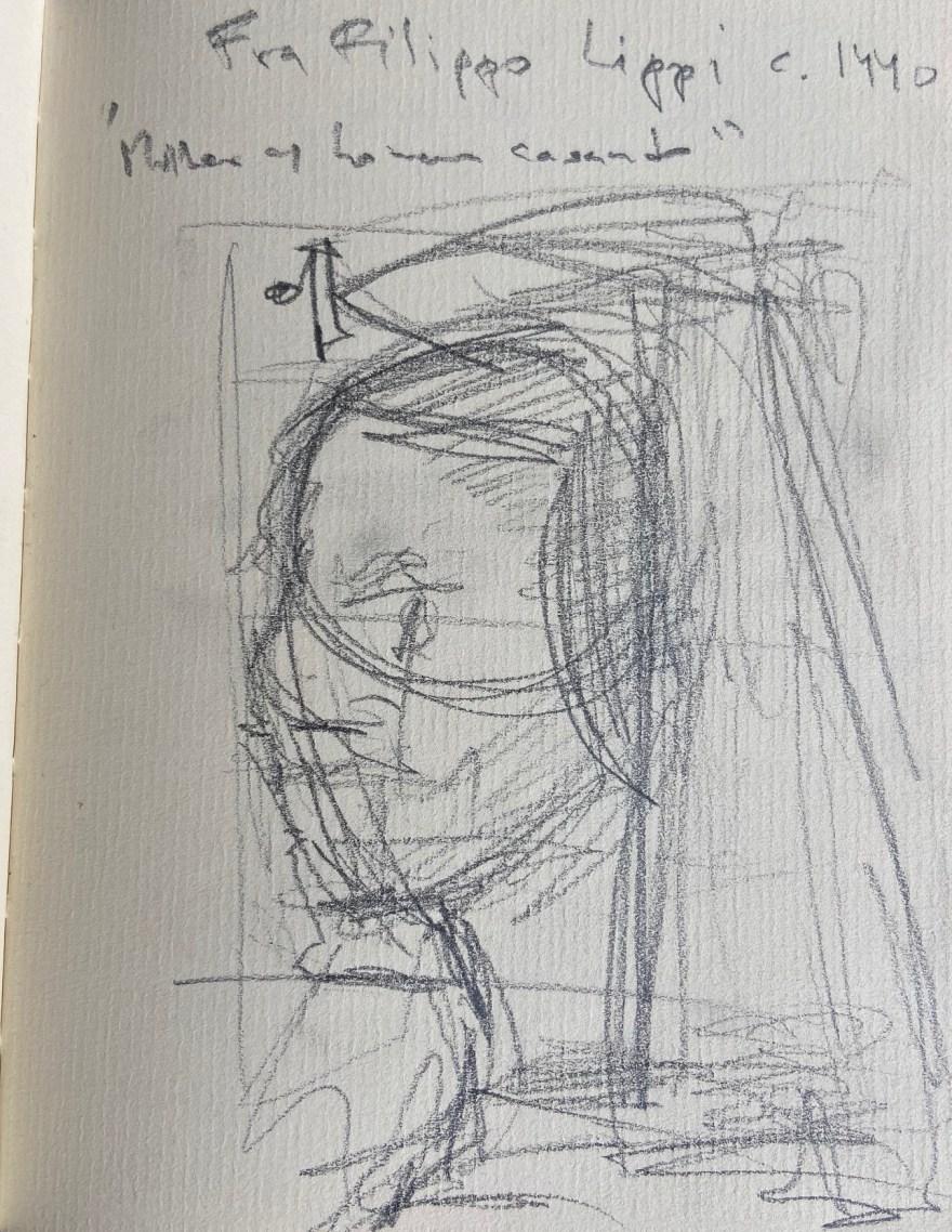 Fra Filippo Lippi, Mulher com homem casando, 1440, Justino, desenho a lápis, 2019.